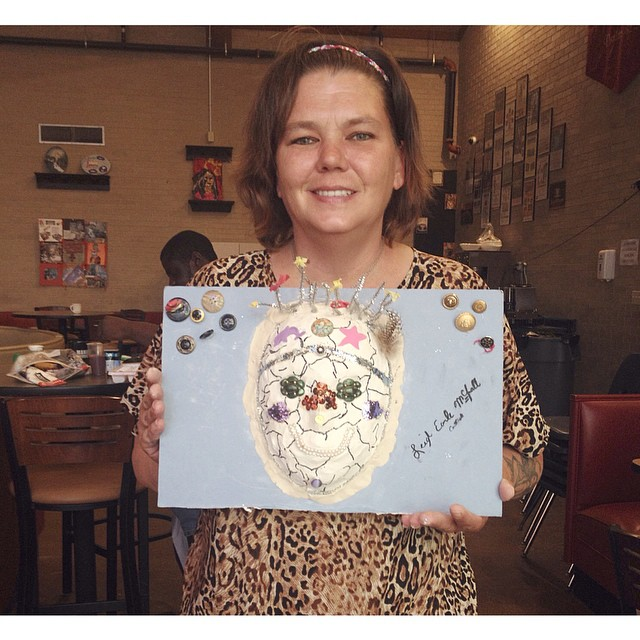 Leigh and her painting over at Salvation Army ReCreate Cafe!
