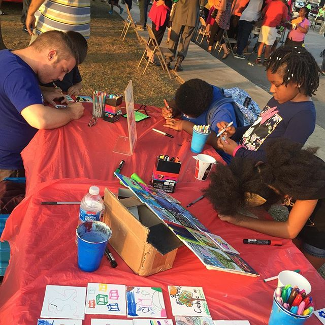Funtimes working on the Unity Mosaic Project with the Glass St. community for National Night Out!