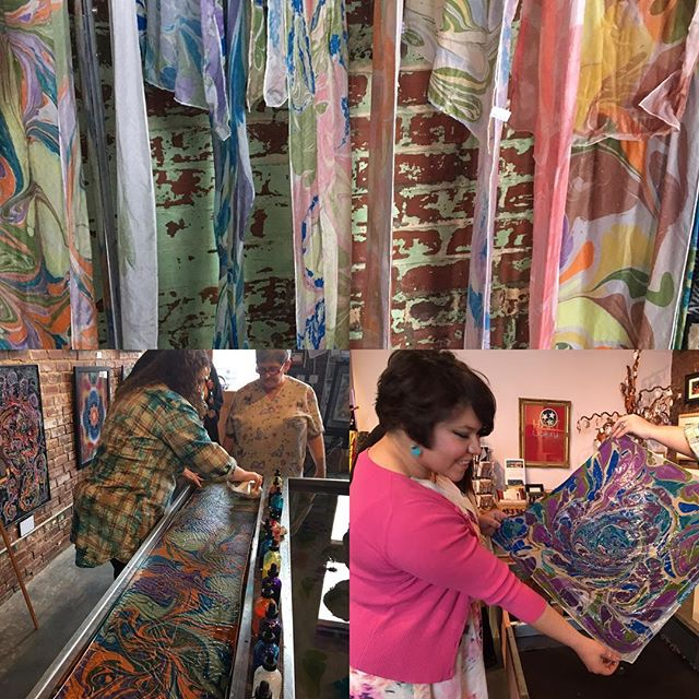 Making silk scarves thanks to Lisa Skates. If you'd like to make one come tomorrow btwn 1-4. $35 donation. #hart #hartcha #hartgallerytn #artwithpurpose