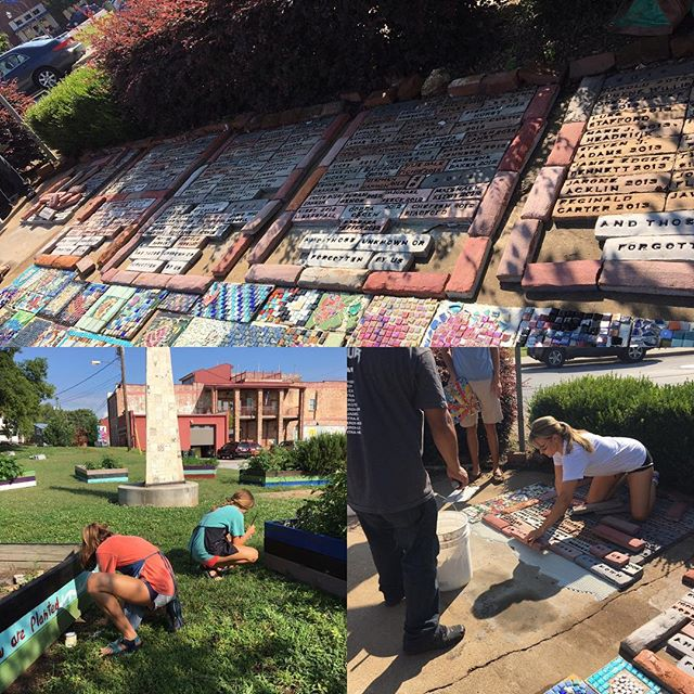 #hartgarden Getting help on our Gaudi-inspired Memorial Garden. #hartgallerytn #nooneshoulddiealone #gpsgirls #loveourvolunteers
