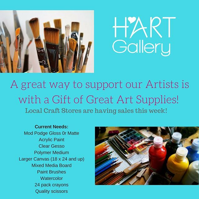 Any donations are greatly appreciated and can be dropped off at the gallery during our regular hours Wednesday through Friday 11-6pm, Saturday 9-2pm. #givingtuesday #chagives #iamhart