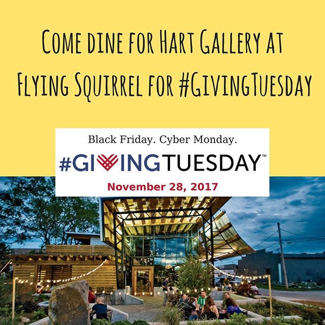 Have some amazing food and maybe a delicious cocktail at Flying Squirrel on #GivingTuesday on November 28th!  Flying Squirrel is graciously donating a portion of sales to Hart Gallery.  Hope to see you there! #chagives #givingtuesday #iamhart