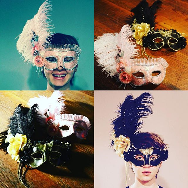 Mardi Gras is just around the corner! Come by @hartgallerytn & grab your own artist-made mask for your celebration! (Masks by: Sarah Clarkson, modeled by Jessi:)
