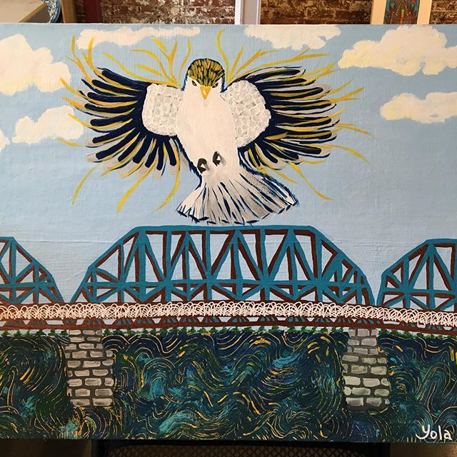 """Spirit of the Mockingbird"" for all you Mocs fans.#hartgallerytn #hartCHA #utcmocs #gomocs"